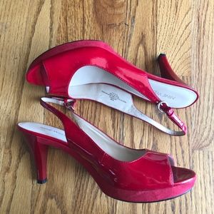 Nine West Red Slingback Heels, 8.5